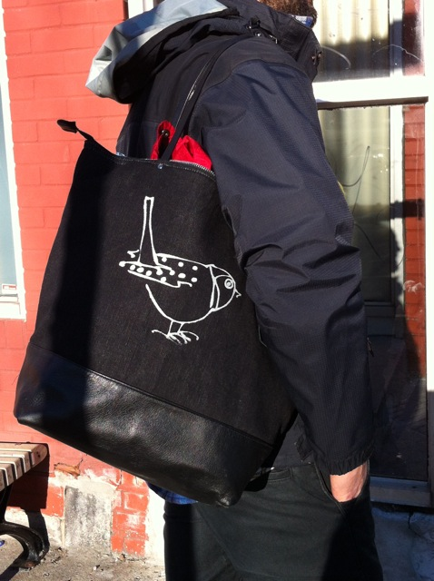 Birdbrain canvas and leather tote