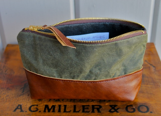 leather and wax canvas pouch