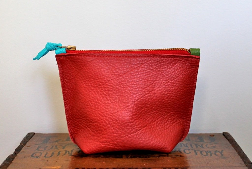 red rough pouch