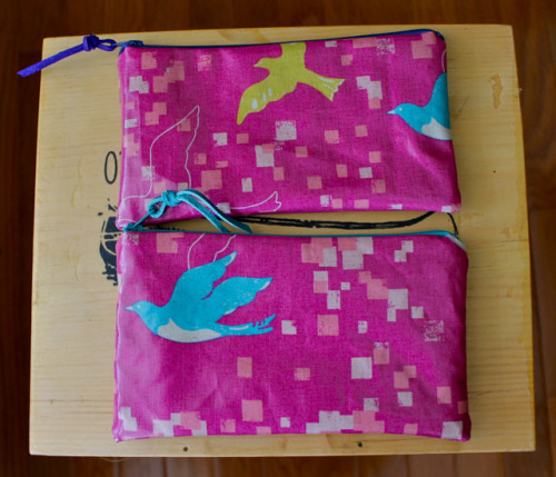 fuchsia bird pouches