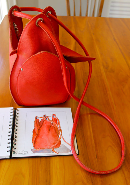 marjon leek bag and sketch