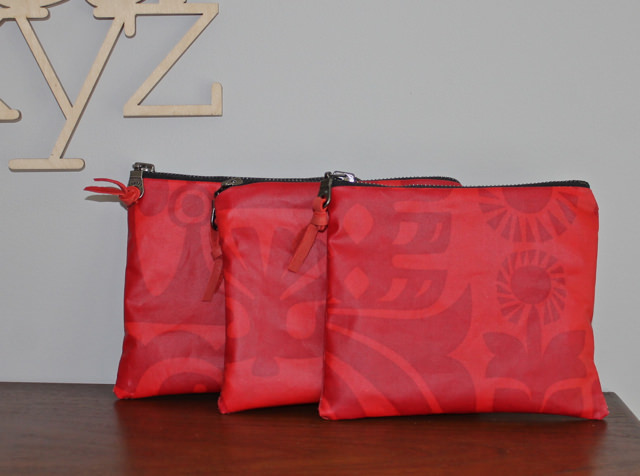 3 red mm pouches