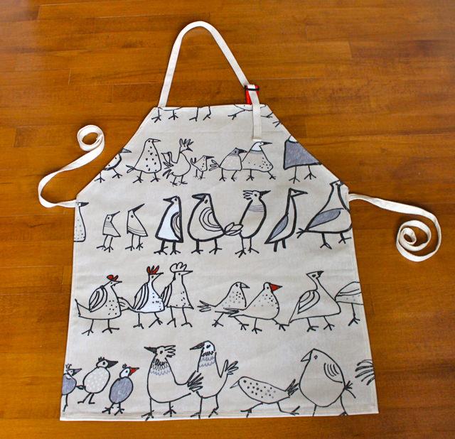 wonky bird apron