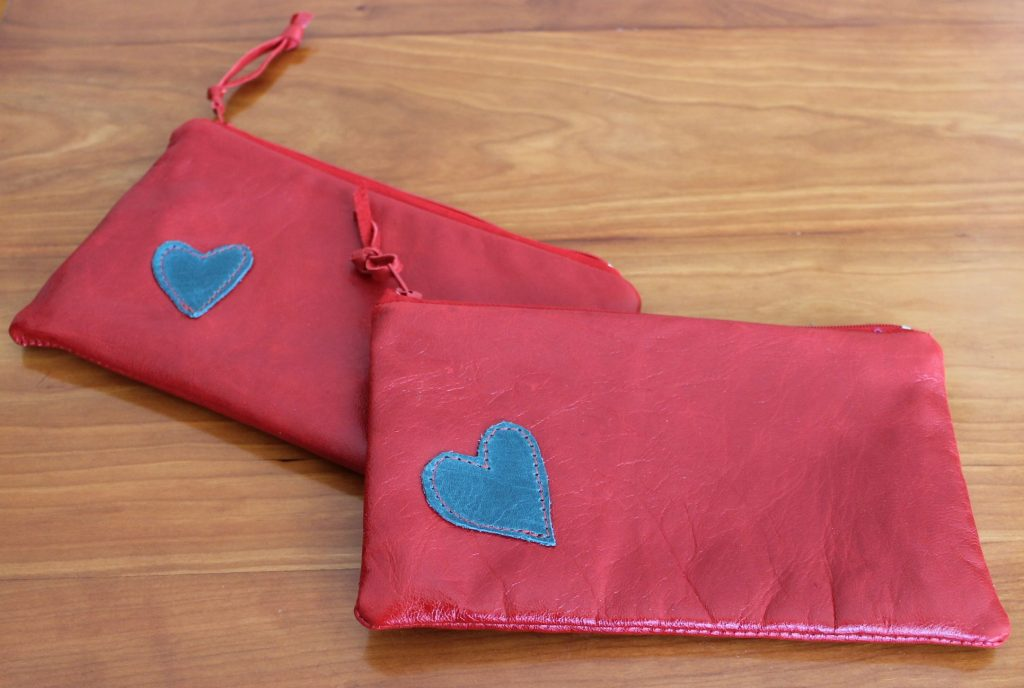 red heart pouches